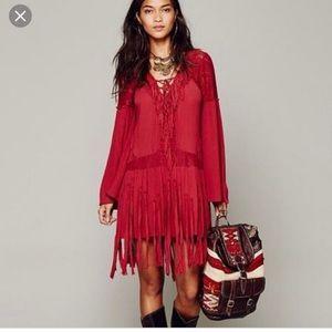 Free People fringe lace up swing dress